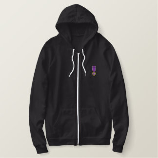 Purple Heart Embroidered Hoodie