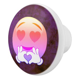 Purple Heart Eye Love Emoji Ceramic Knobs
