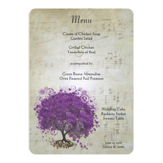 Purple Heart Leaf Tree Wedding Menu Card