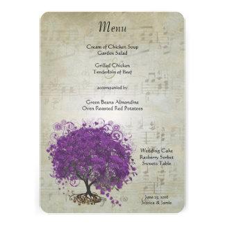 Purple Heart Leaf Tree Wedding Menu Invitations