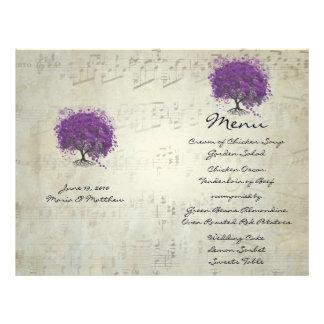 Purple Heart Leaf Tree Wedding Menu Letterhead