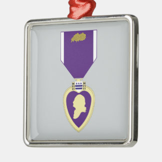 Purple Heart Medal - 3rd Award Square Metal Christmas Ornament
