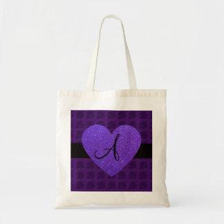 Purple heart monogram roses tote bag