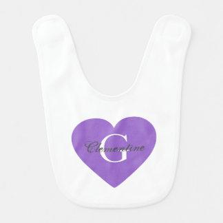 Purple Heart Name Initial Monogram Bib
