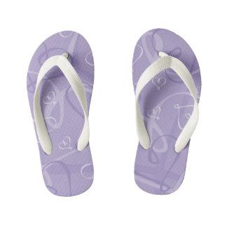 Purple heart pattern kid's flip flops