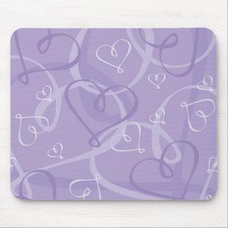 Purple heart pattern mouse pad