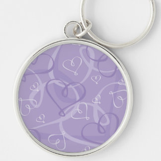 Purple heart pattern Silver-Colored round keychain