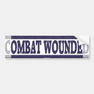 Purple Heart Ribbon Combat Wounded Bumper Sticker
