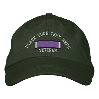 Purple Heart Ribbon Embroidered Hat
