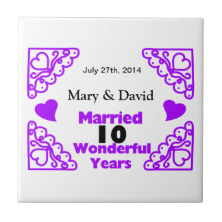 Purple Heart Swirls Names & Date 10 Yr Anniversary Tile