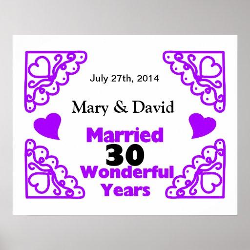Purple Heart Swirls Names & Date 30 Yr Anniversary Posters