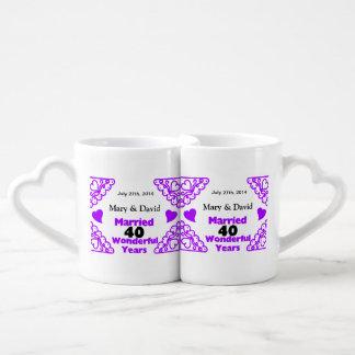 Purple Heart Swirls Names & Date 40 Yr Anniversary Coffee Mug Set