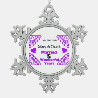 Purple Heart Swirls Names & Date 5 Yr Anniversary Pewter Snowflake Ornament