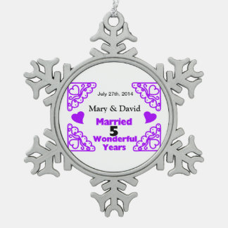 Purple Heart Swirls Names & Date 5 Yr Anniversary Snowflake Pewter Christmas Ornament