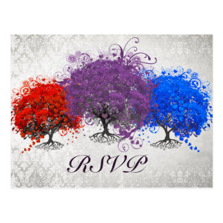 Purple Heart Tree Wedding Monogram Response Card Postcard