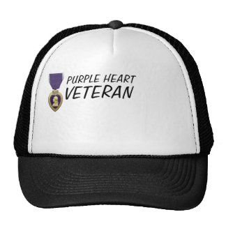 PURPLE HEART VETERAN CAP TRUCKER HAT