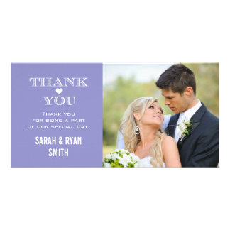 Purple Heart Wedding Photo Thank You Cards Personalized Photo Card