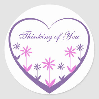 Purple heart with pink & purple flowers classic round sticker