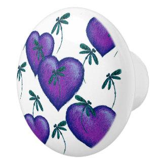 Purple Hearts and Dragonflies Ceramic Knob