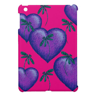 Purple Hearts and Dragonflies Cover For The iPad Mini
