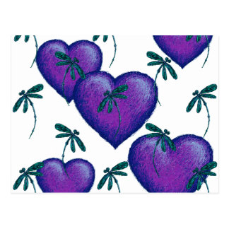 Purple Hearts and Dragonflies Postcard