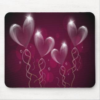 Purple Hearts Balloons, Happy Birthday Mouse Pad