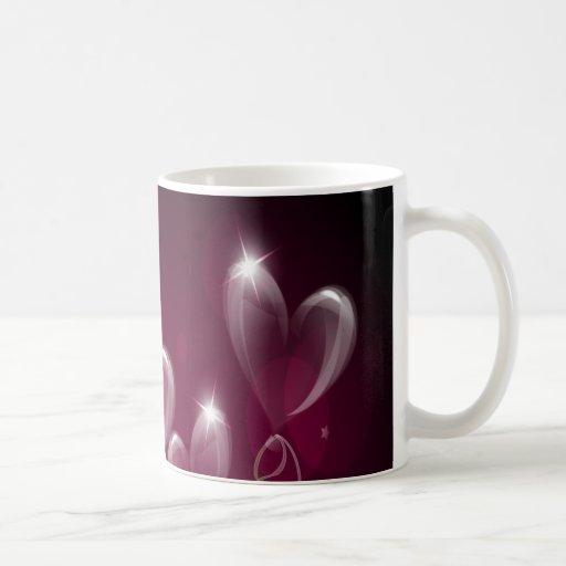Purple Hearts Balloons, Happy Birthday Mugs