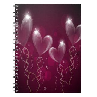 Purple Hearts Balloons, Happy Birthday Note Books