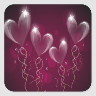 Purple Hearts Balloons, Happy Birthday Square Sticker