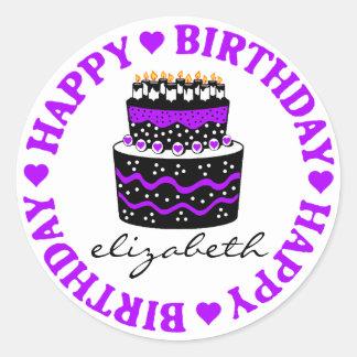 Purple Hearts Birthday Cake Round Sticker