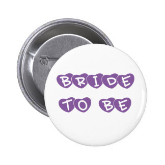 Purple Hearts Bride to Be Buttons