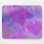 PURPLE HEARTS DESIGN MOUSE PAD cute abstract