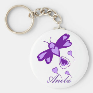 Purple Hearts dragonfly template name key chain