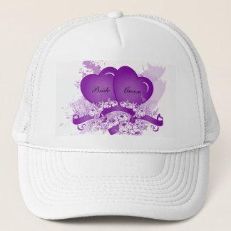 Purple Hearts & Flowers Personalized Bride's Hat