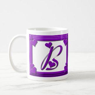 Purple Hearts Frame Monogram B Classic White Coffee Mug
