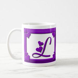 Purple Hearts Frame Monogram Letter L Coffee Mug