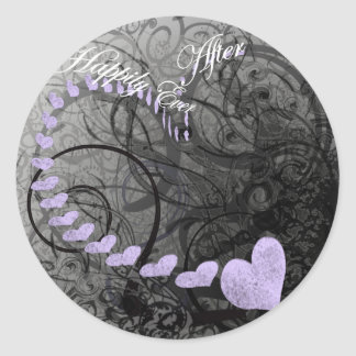 Purple Hearts Happily Ever After Round Sticker