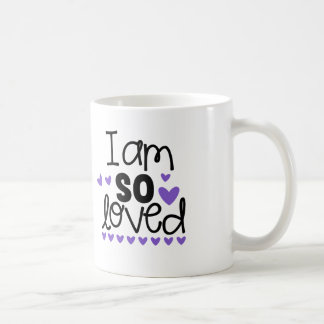 Purple Hearts I Am So Loved Coffee Tea Cup Mug