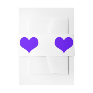 Purple Hearts Invitation Belly Bands Invitation Belly Band