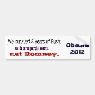 Purple hearts, not Romney Bumper Sticker