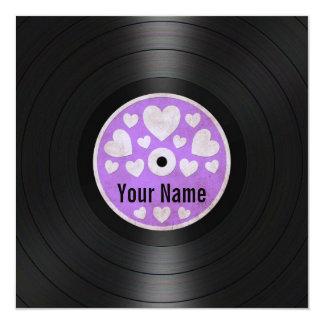"""Purple Hearts Personalized Vinyl Record Album 5.25"""" Square Invitation Card"""