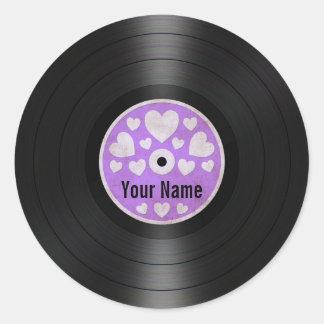 Purple Hearts Personalized Vinyl Record Album Round Sticker