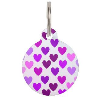 purple hearts pet ID tag