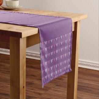 Purple hearts short table runner