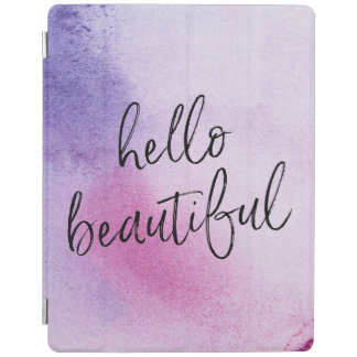 Purple Hello beautiful hand-lettered ipad cover