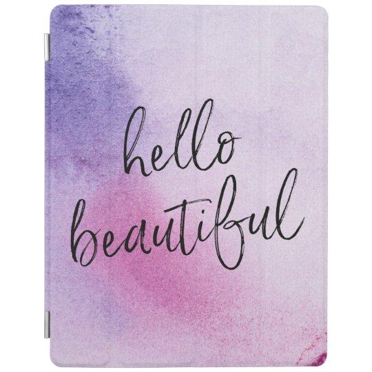 Purple Hello beautiful hand-lettered ipad cover