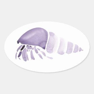 Purple Hermit Crab Oval Sticker