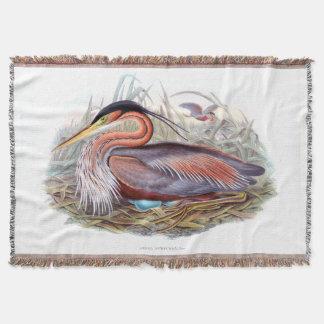 Purple Heron Throw Blanket
