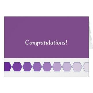 Purple Hexagon Fade Congratulations Greeting Card