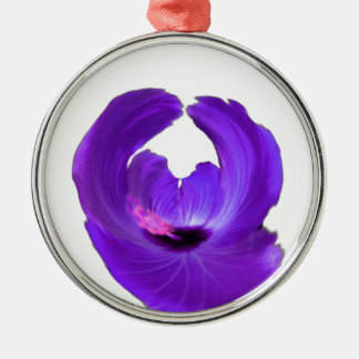 Purple Hibiscus Abstract Flower 201711h Metal Ornament
